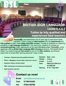 BSL Course Poster (2017-18)